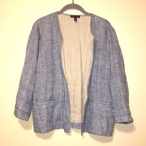 Eileen Fisher chambray blue open front linen top